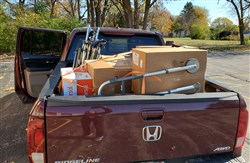 Loaded pickup truck taking donations for United Methodist Church Wisconsin Annual Conference In-Gathering 2020